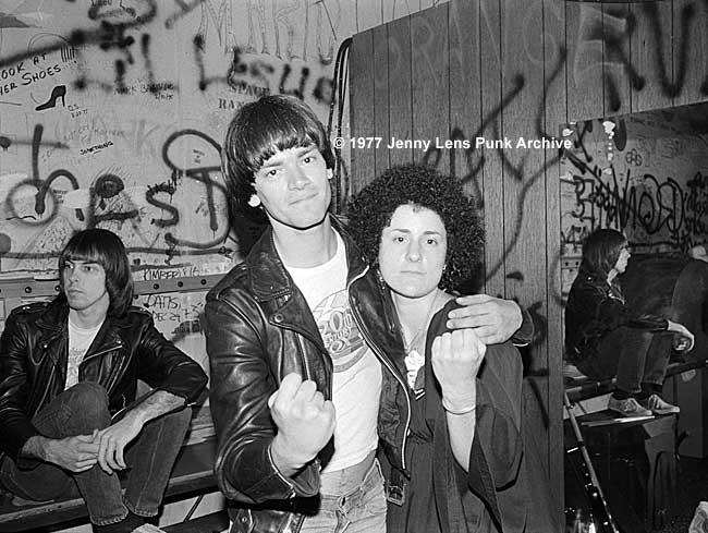 February 20,. 1977, Dee Dee Ramone, Jenny Lens and Johnny Ramone on left, Whisky backstage