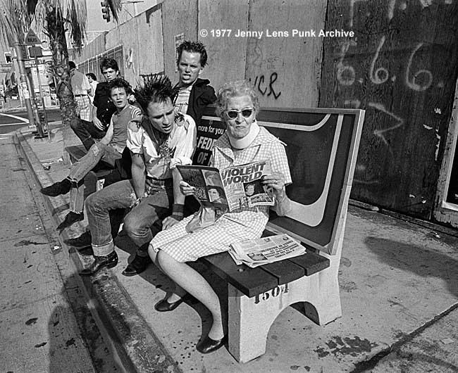 Spring, 1977, Screamers bus bench, Gower Gulch (Gower and Sunset, Hollywood)